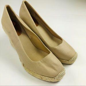 J.Crew wedge espadrilles beige canvas shoes 9